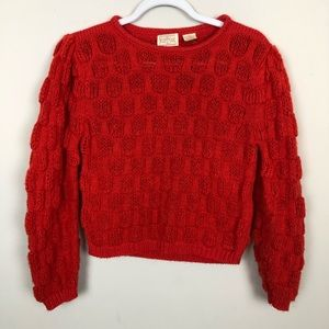 Vintage 90s Cropped Puff Sleeve Polka Dot Sweater